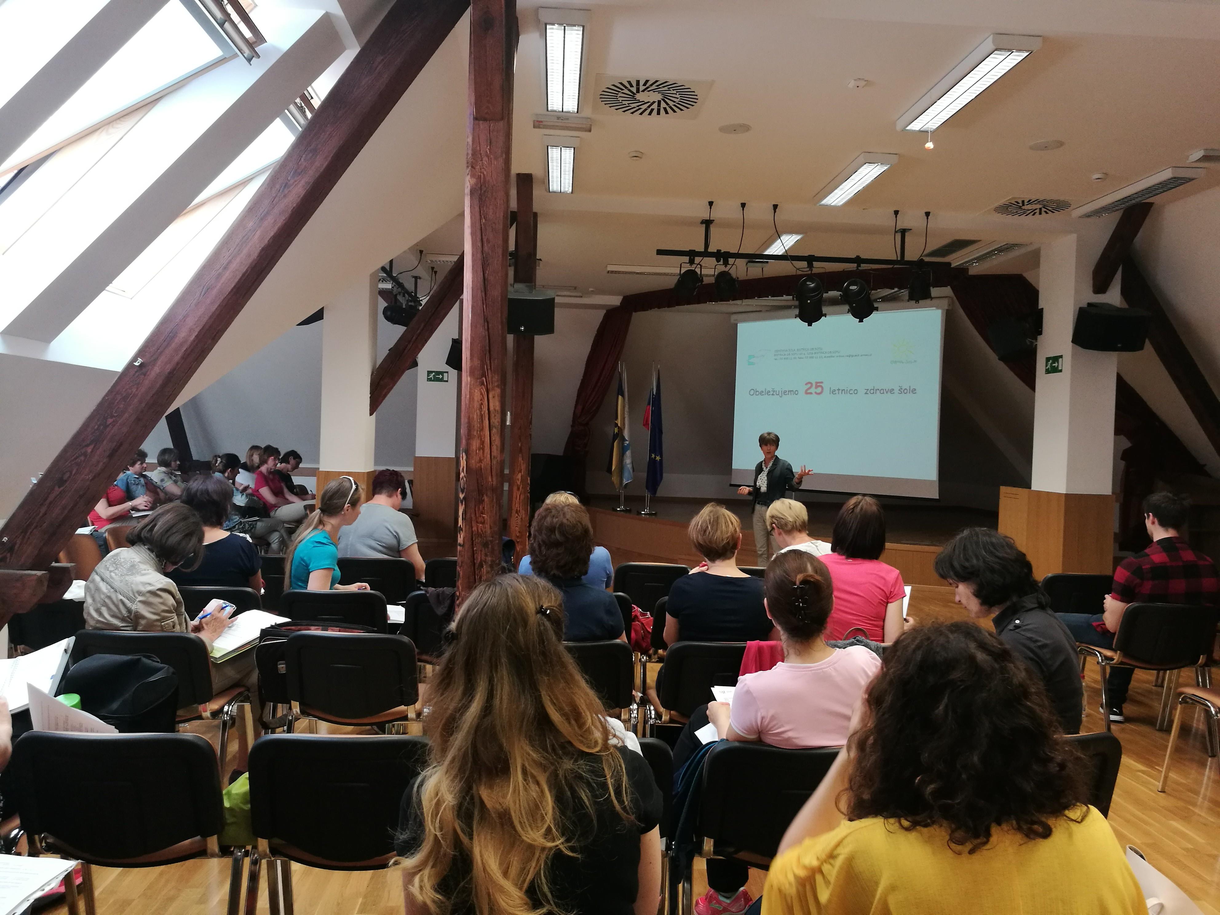 Marinka Drofenik iz OŠ Bistrica ob Sotli je predstavila, kako obeležujejo 25. obletnico na njihovi šoli.